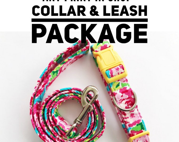 Featured listing image: Collar and Leash Set   Any Print