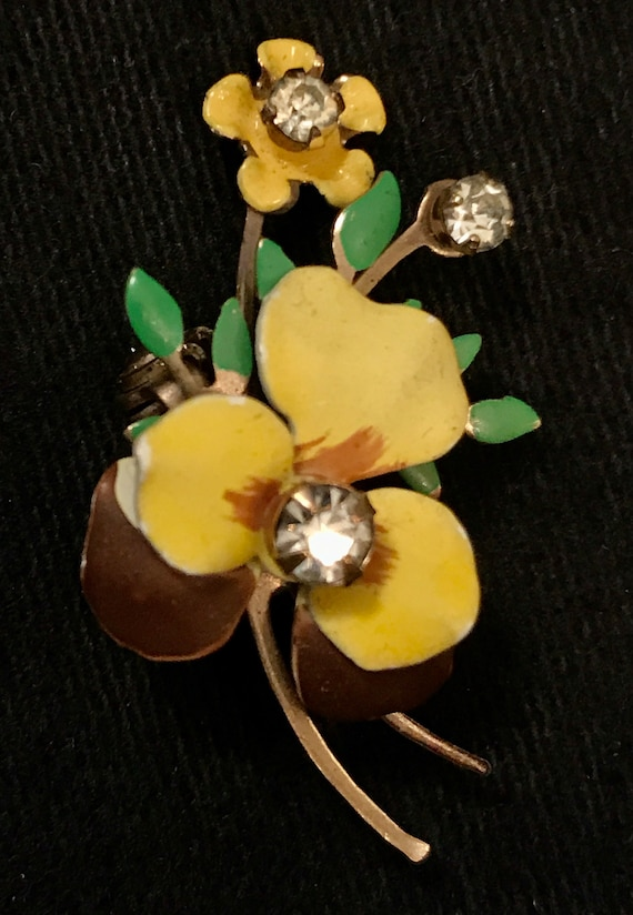Vintage 50s Pansy Pin or Brooch – Enamel on Brass… - image 3
