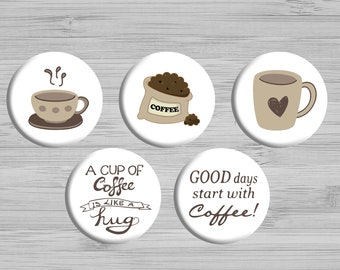 Button Magnets - Fridge Magnets - Kitchen Decor - Set of Cute Magnets - Party Favors - Coffee Magnets - Office Decor - Housewarming Gift