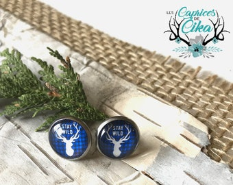 stainless steel stud earring set - deer blue buffalo plaid
