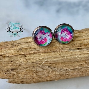 Screw Canada Cabochon Rimouski Screw earrings Stainless steel Hypoallergenic Baby Jewelry flamingo Child Quebec Stainless steel