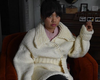 Chunky Hand-Knit Ivory Wrap Sweater