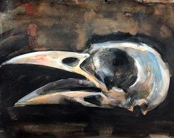 Crow Skull watercolor