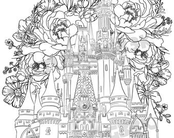 Castle Coloring Page Etsy