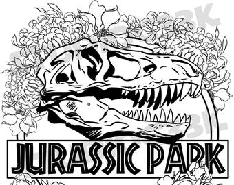 Jurassic park logo print digital jurassic park logo printable coloring sheet thecheapjerseys Choice Image