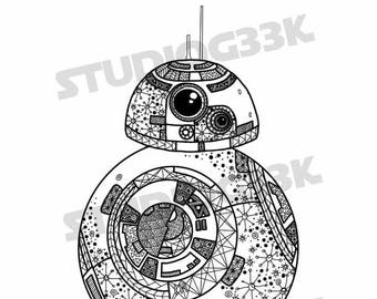 Digital Star Wars BB8 Zentangle Printable Coloring Sheet