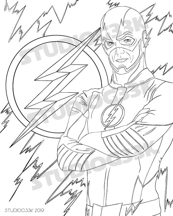 The Flash Disegni Da Colorare.Il Foglio Da Colorare Stampabile Flash Etsy