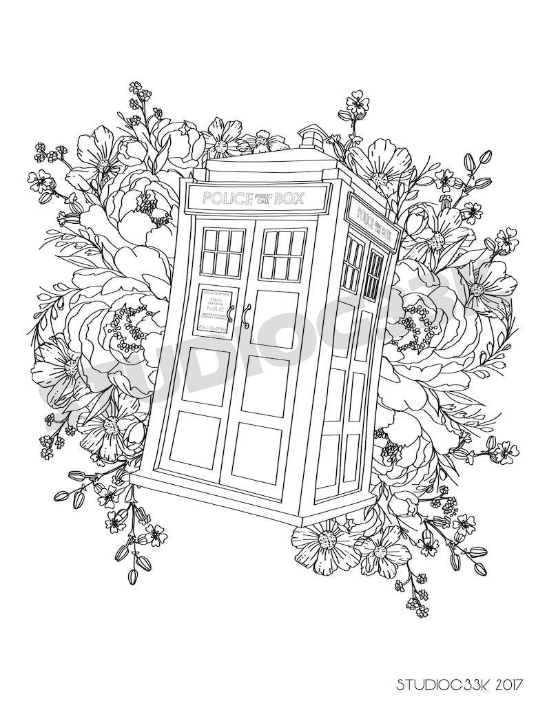 photo about Tardis Printable called Electronic Health practitioner Who Tardis Printable Coloring Sheet
