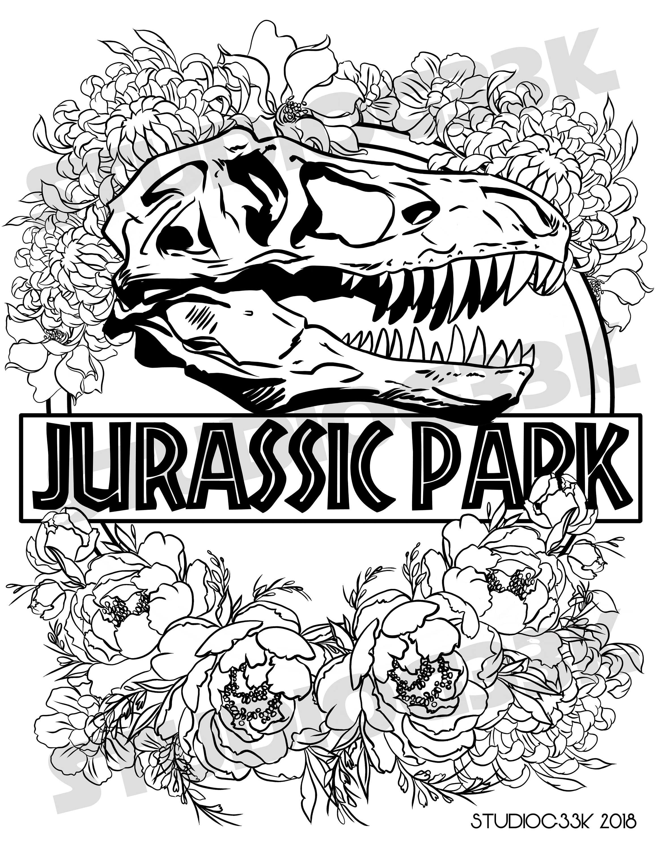 Digital Jurassic Park Logo Printable Coloring Sheet   Etsy