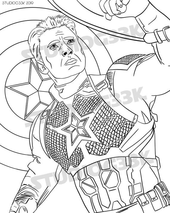 Captain America Printable Digital Download Coloring Page Etsy