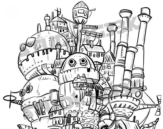 Moving Castle Printable Digital Download Coloring Page Etsy