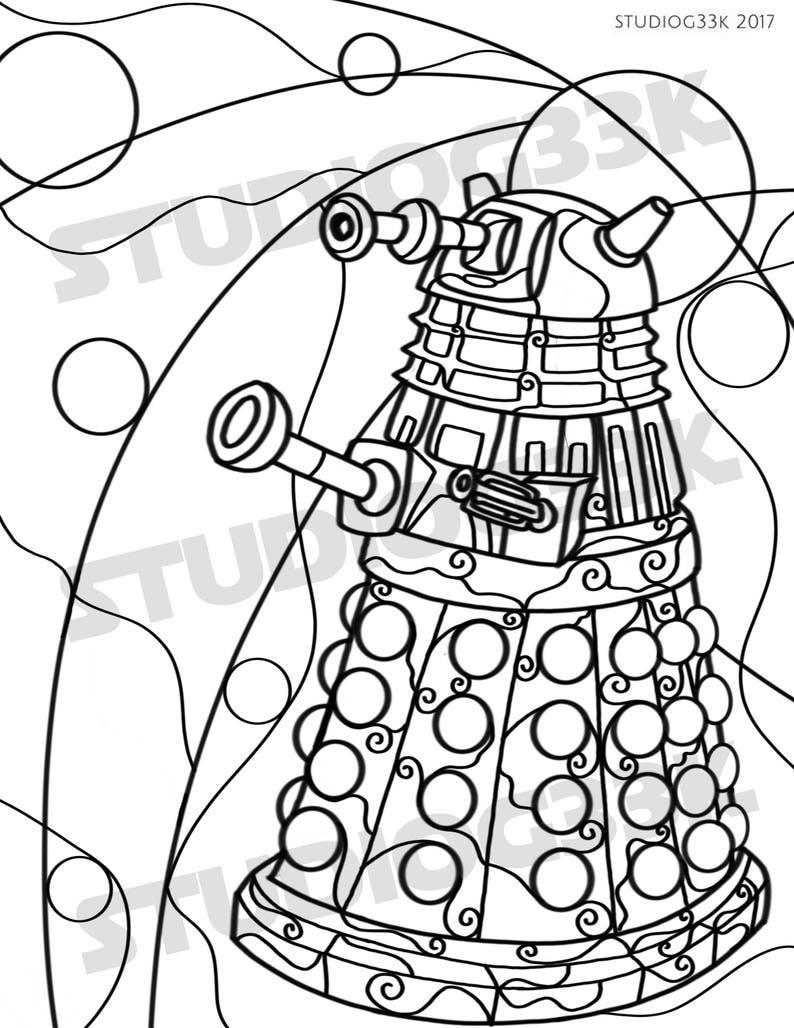 Digital Doctor Who Dalek Zentangle Printable Coloring Sheet
