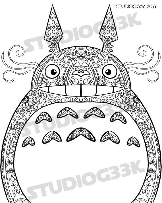 Digital My Neighbor Totoro Full Zentangle Printable Coloring Etsy