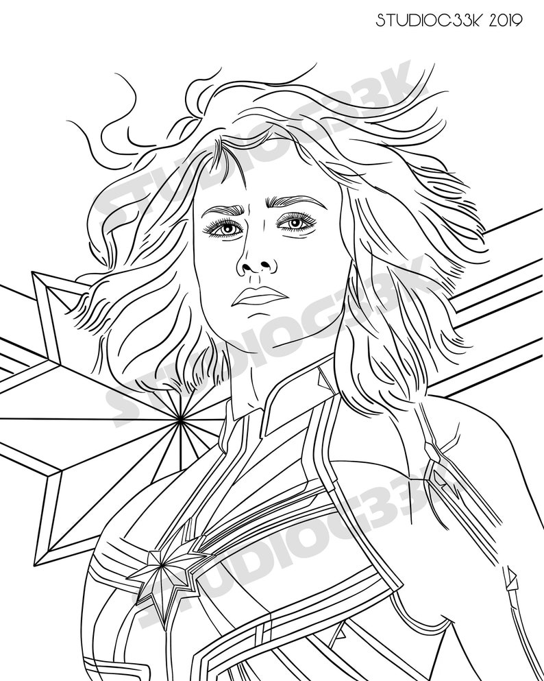 - Digital Captain Marvel Downloadable Coloring Sheet Etsy