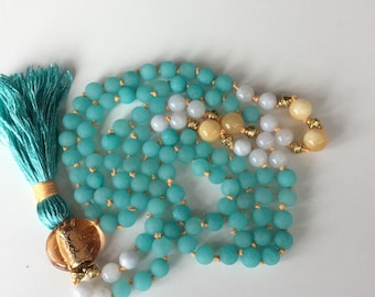 108 bead mala, frosted turquoise jade, gemstone jewellery, prayer beads, mala necklace, yoga beads, buddhist mala, yoga jewellery, gold mala