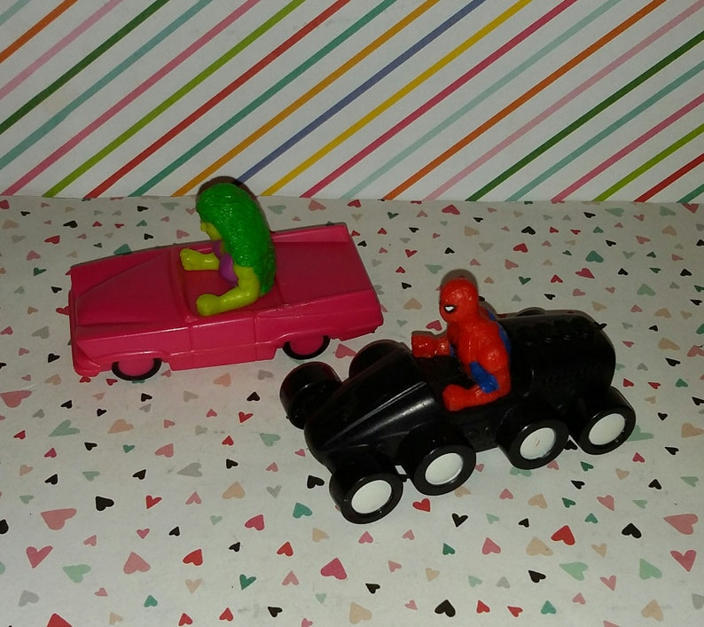 Vintage 1990s Marvel She Hulk and Spiderman Figures in Cars