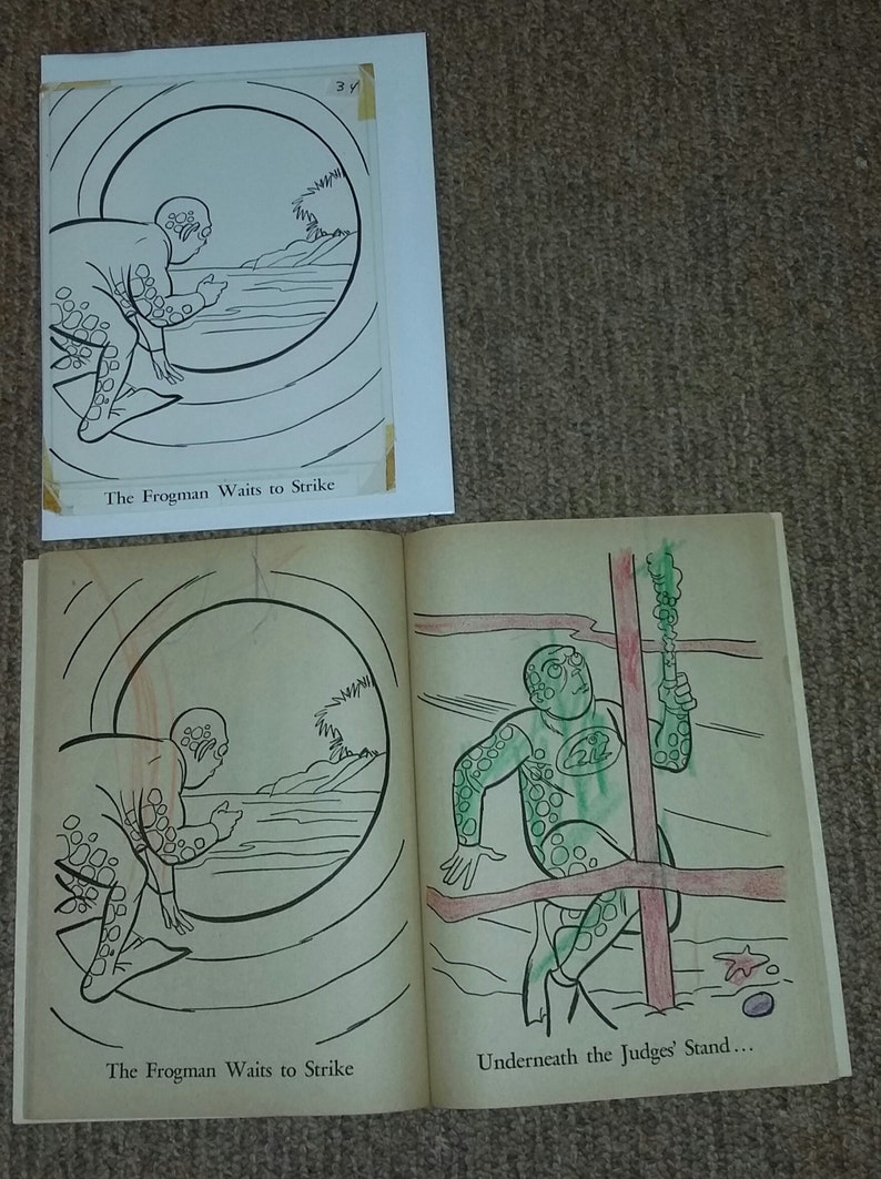 Vintage 1966 Batman Whitman Coloring Book Original Art (Frogman)