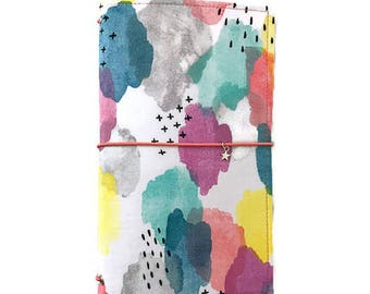 Bullet Journal Fabric Travelers Notebook Rainbow Fauxdori Journal Cover Gifts for Artists  Refillable Planner Fabric Dori MTN OPHELIA