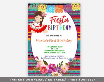 Editable Fiesta Birthday Girl Invitation Mexican PDF Party Theme Spanish