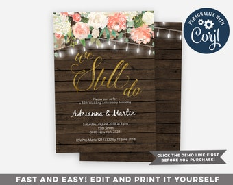 Vow renewal invite etsy rustic we still do anniversary invitation vow renewal invitation wedding anniversary invitation country invitation string lights invite solutioingenieria Image collections