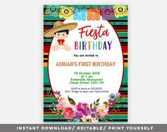 editable surprise mexican fiesta party invitation shhh etsy