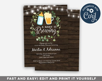 Coed baby shower etsy editable rustic baby is brewing invitation co ed couple baby shower invitation coed baby shower couples baby showergender neutral shower filmwisefo
