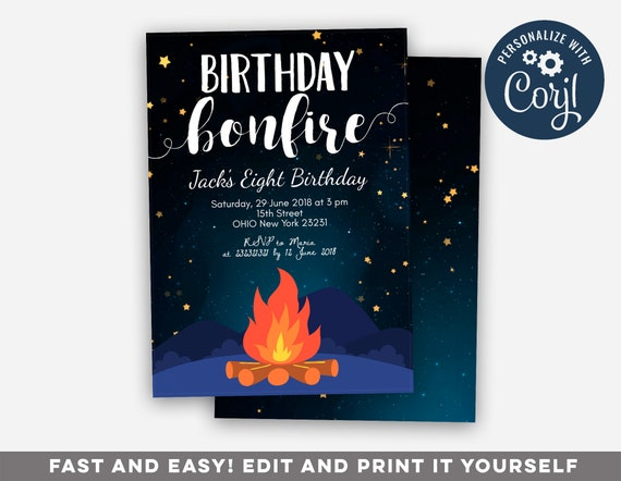 Editable Birthday Bonfire Party Invitation Etsy