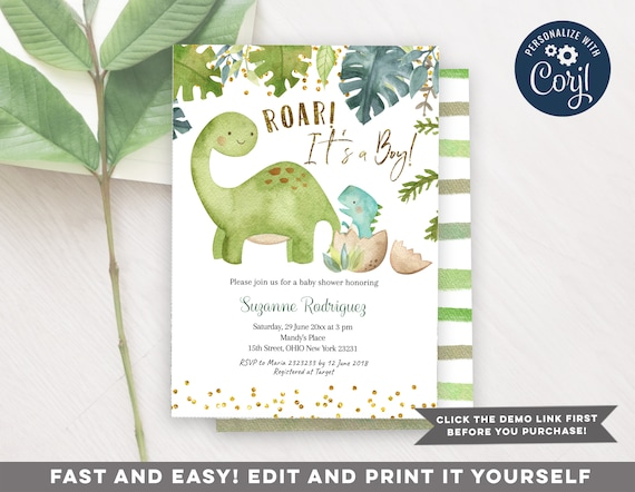 Digital Printable Roar Its a Boy. Boy Dinosaurs Baby Shower Dinosaurs Baby Shower Invite DINOSAURS BABY SHOWER Invitation