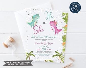 He or She Dinosaur Gender Reveal Invitation, Editable Blue and Pink Gender Reveal Party, T-Rex Dinosaur Flowers Baby shower invite, EV75