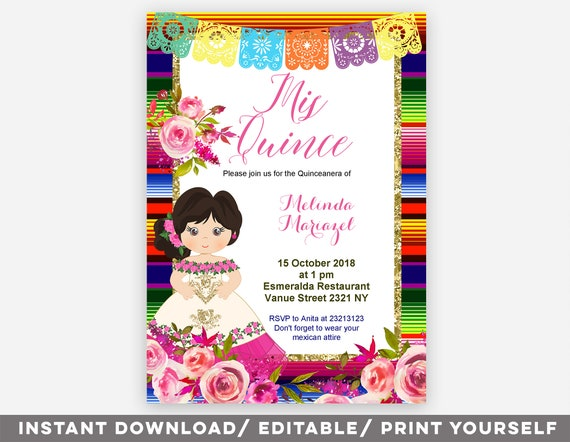 Editable Quinceanera Mexican Invitation Mexican Mis Quince Etsy