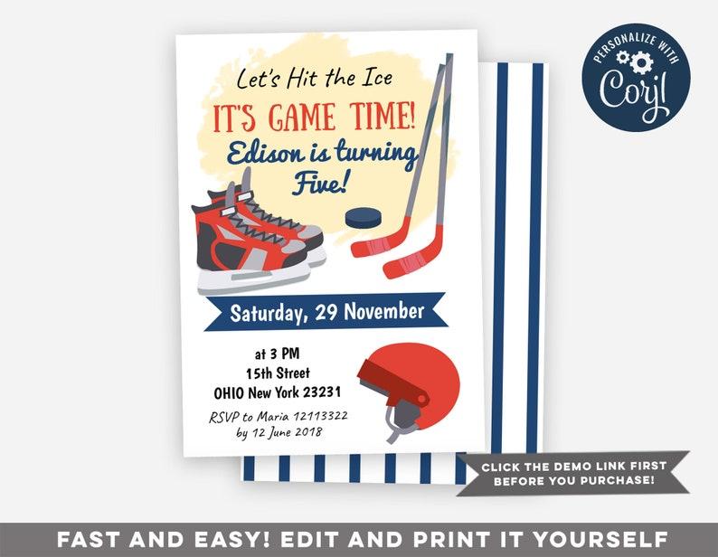 Editable Hockey Birthday Invitation Hockey Birthday Party Etsy