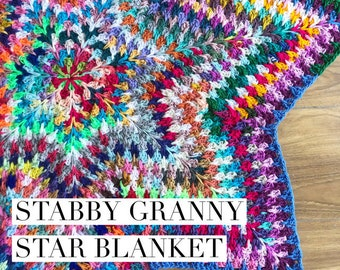 Stabby Granny Star Crochet Blanket Pattern UK and US terms granny square