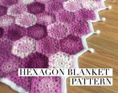 Crochet Blanket Pattern, Hexagon design, Pom pom edge, US and UK terminology, PDF Instant Download