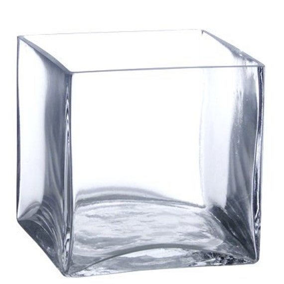 5 Square Glass Vase 5 Inch Clear Cube Centerpiece Etsy