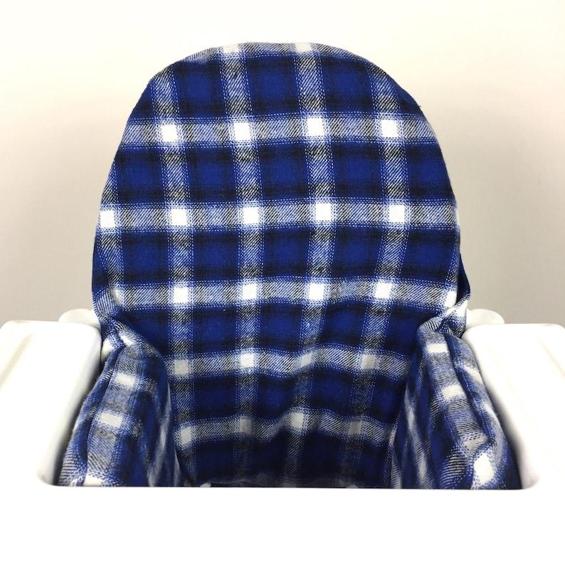image 0 ...  sc 1 st  Etsy & Blue flannel plaid IKEA Antilop highchair high chair cushion | Etsy