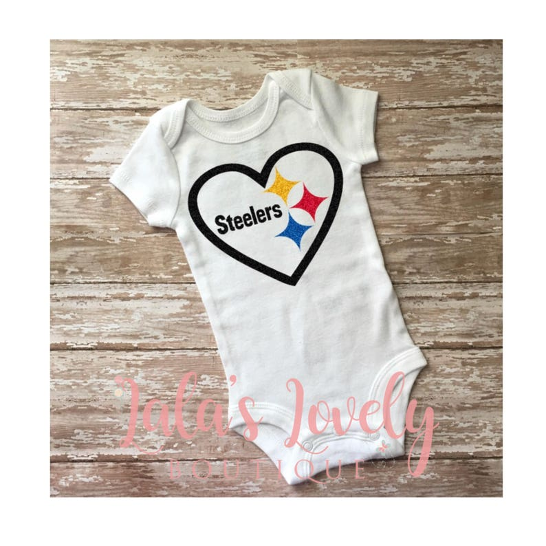 5850abb975f Custom Baby Girl and Kids Heart Pittsburgh Steelers Glitter