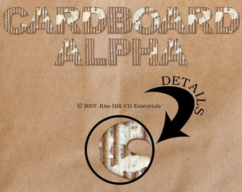 "Digital Scrapbook Alphabet Set - ""Cardboard Alpha"" digital alphabet set of letters and numbers in brown/white cardboard"