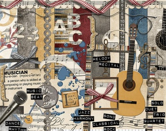 """Music Digital Scrapbook Kit - """"Musical Interlude"""" digital papers and elements with keyboard, guitar and microphone for scrapbook layouts"""