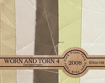 Digital Scrapbook Paper - Worn & Torn Paper Pack 4 - distressed brown paper, tan paper, green paper for digital scrapbook layouts