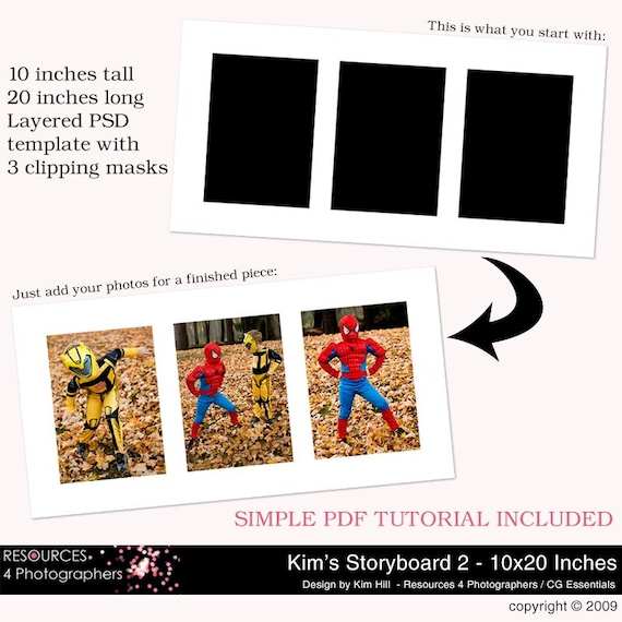 storyboard template 2 10x20 inches layered photoshop etsy