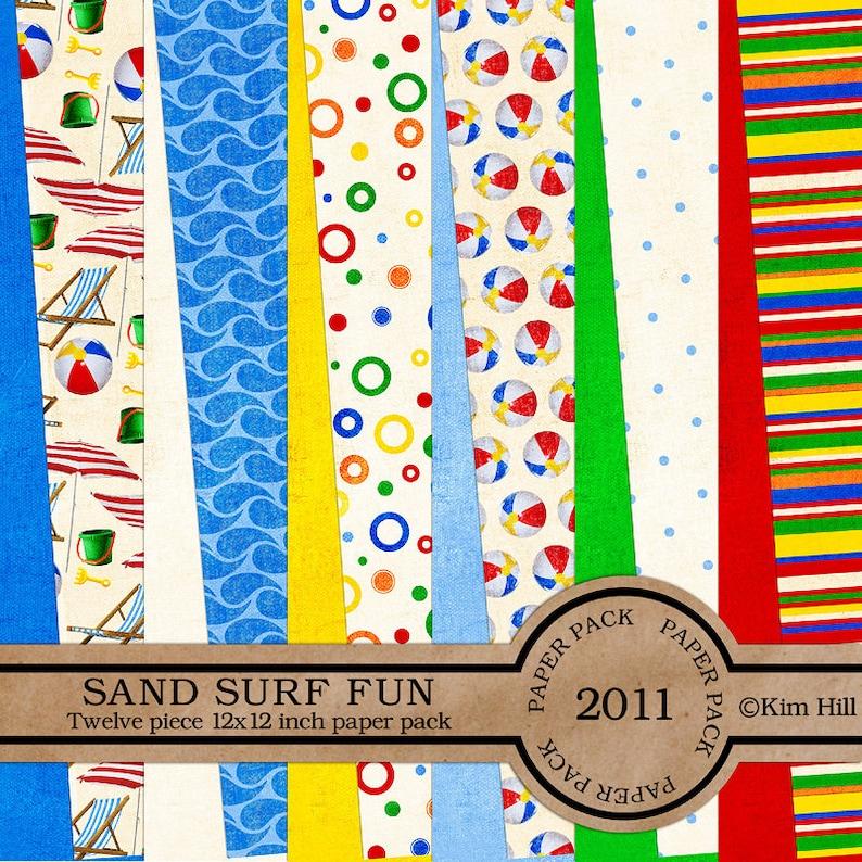 057784f2c33d Beach Digital Scrapbook Kit Sand Surf Fun for
