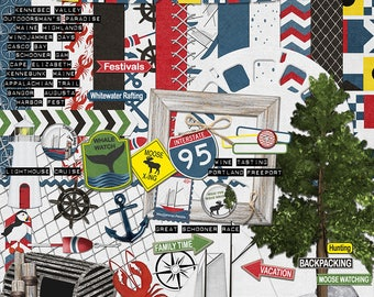 State of Maine digital scrapbook kit for vacations, tourists, boating, yachting, hiking, fishing and outdoor activities in red white blue