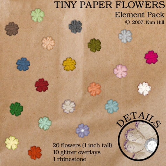Tiny paper flowers digital scrapbook elements rainbow etsy image 0 mightylinksfo