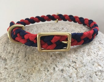 Red and Navy Small Dog  Collar