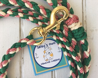 Vintage Christmas CandyCane and Green Leash