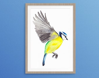 "A Blue Tit Landing Original Watercolour Painting 12"" x 10"""