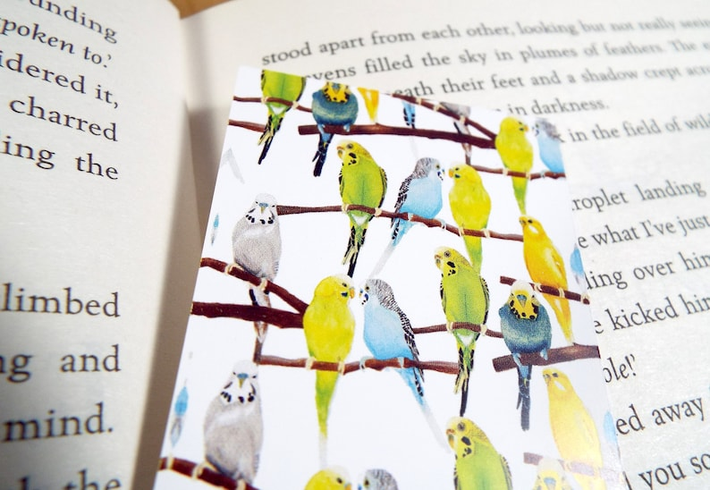 Brightly coloured flock of budgies, Watercolour Printed Bookmark
