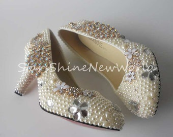 Ivory Pearls Phoenix Women Wedding Shoes Med Heels Sexy Ladies Party Shoes  5cm Heel Size 34-43 c0b248a7b75f