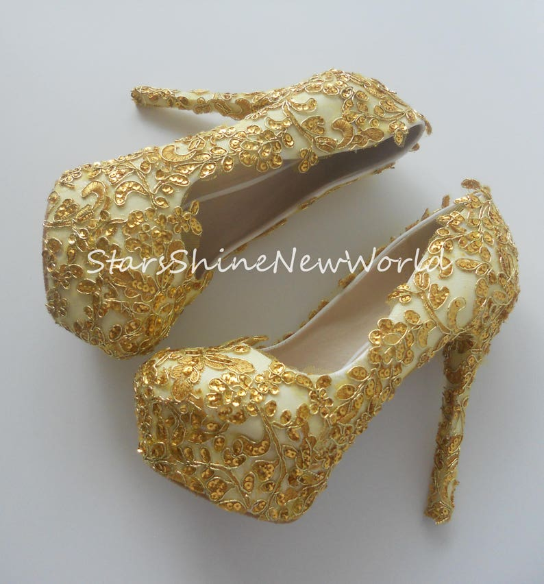 47ce26d688e1f Gold Lace Sequines Women Wedding Shoes High Heels Sexy Platform Women Party  Shoes Bridal Shoes