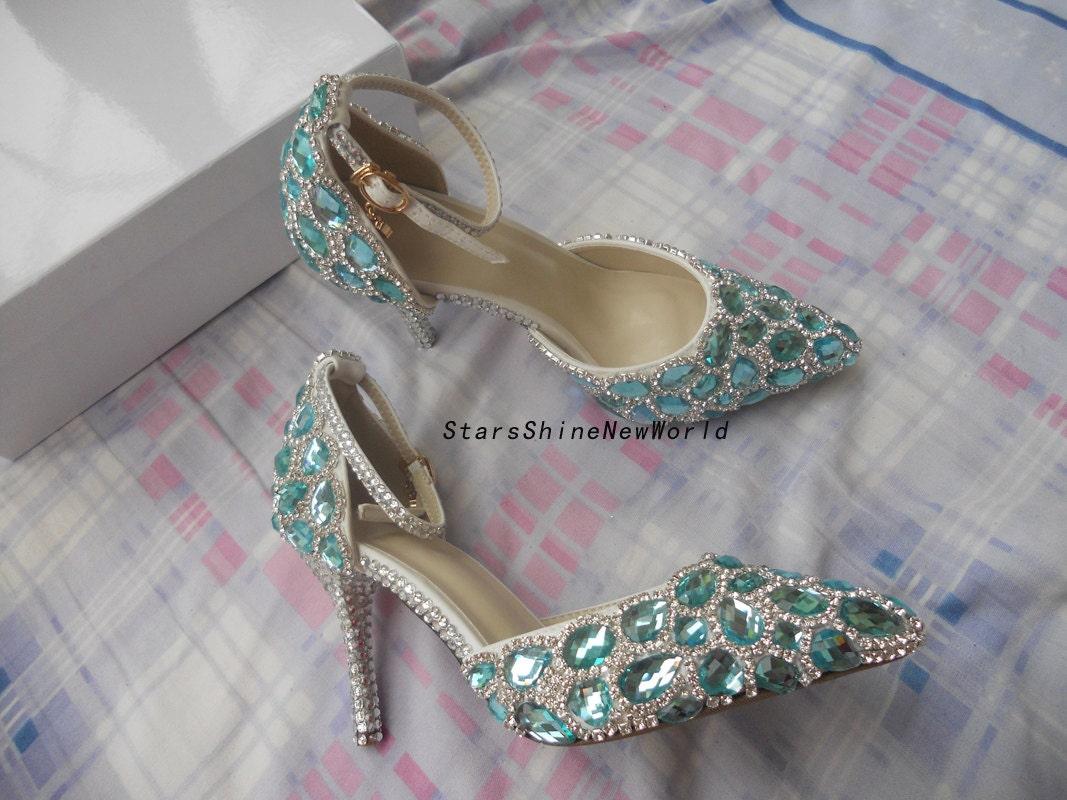 les chaussures femmes de mariage talons diamants bleus, les femmes chaussures cm cheville strass bridal chaussures pointues b94466